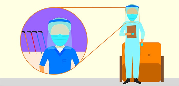 Illustration about how Bauer is making face shields for healthcare workers