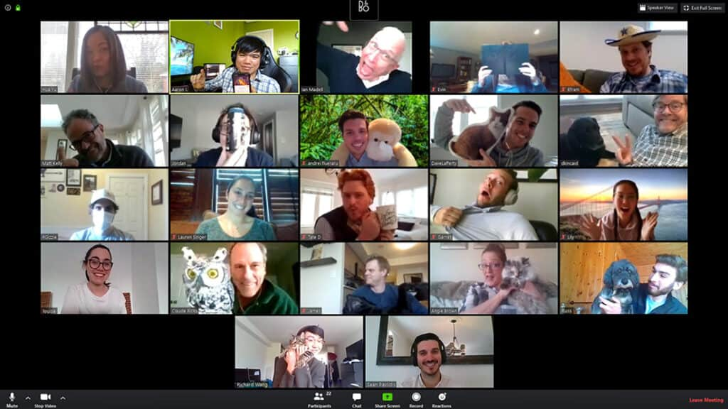 A snapshot of the Level5 team on the Zoom app.
