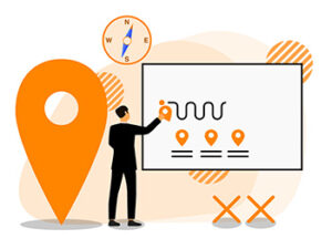A person designs a customer journey using location pins and roadmaps