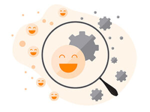 A magnifying glass looks at the smiley face and a gear