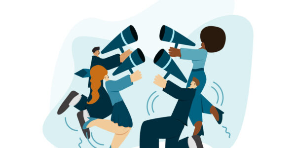 A group of people are amplifying their voice with their megaphones