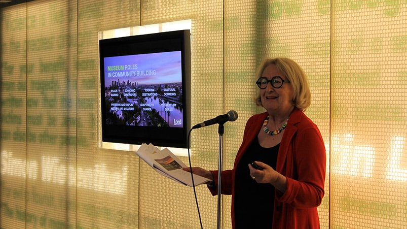 Gail Lord giving a keynote address on museums and soft power, Museum of Tolerance, Los Angeles, 2017